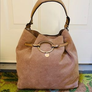 H&M  tan real suede single strap shoulder Hobo bag